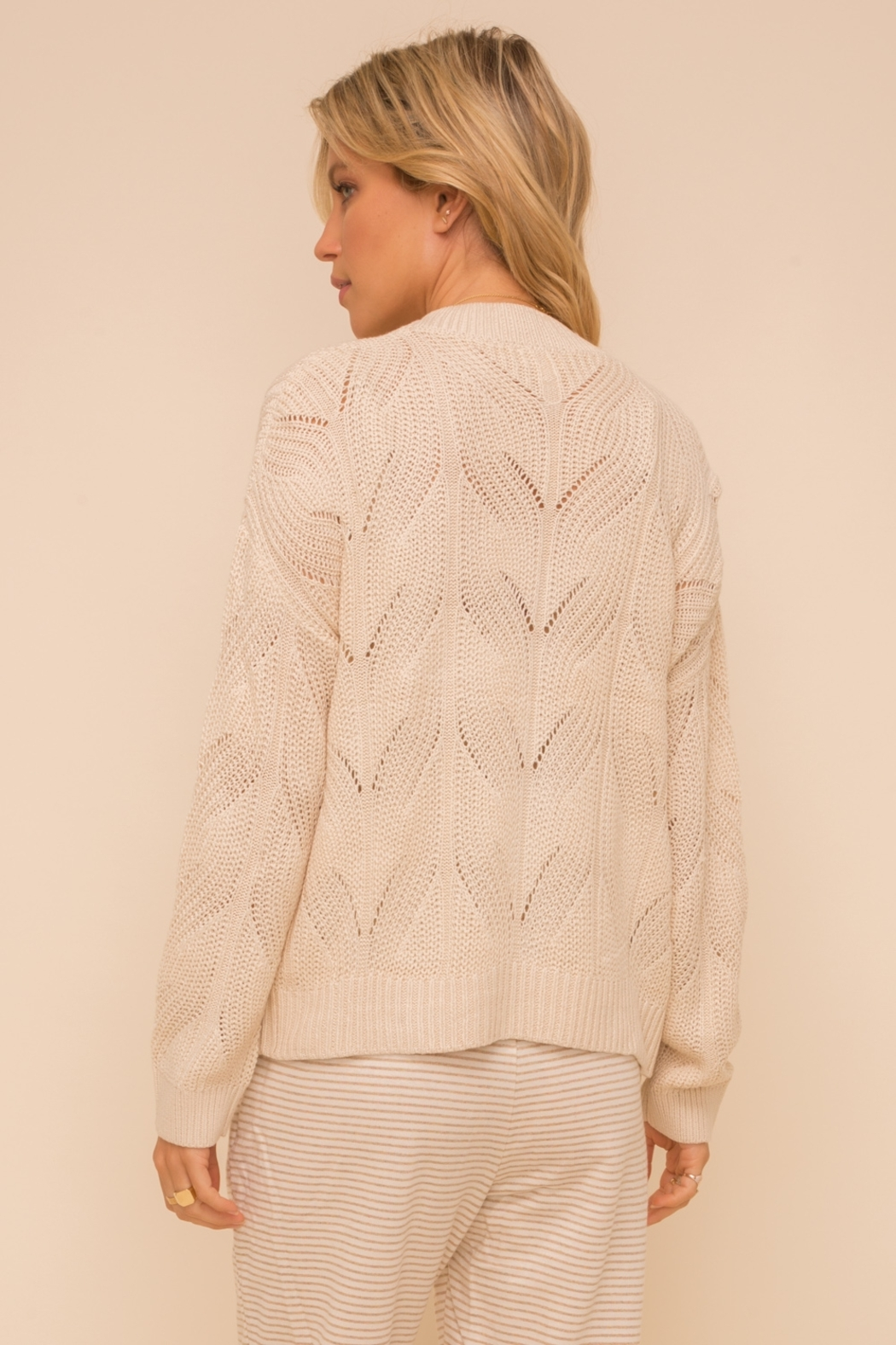 Hem and Thread Textured Sweater Cardigan - Back Cropped Image