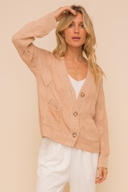 Hem and Thread Textured Sweater Cardigan - Front full body
