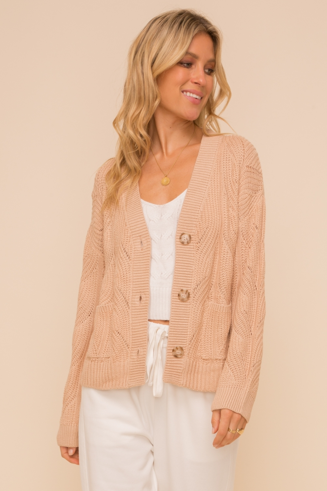 Hem and Thread Textured Sweater Cardigan - Front Cropped Image