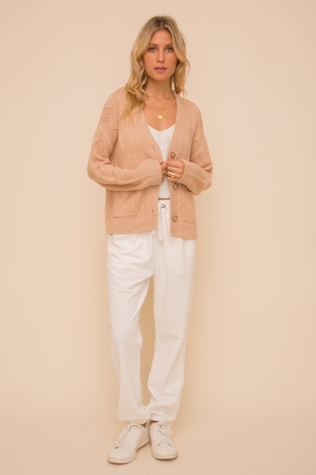 Hem and Thread Textured Sweater Cardigan - Side Cropped Image
