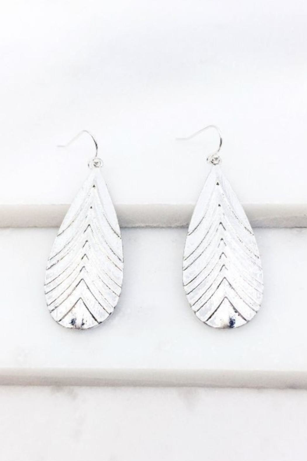 AL Boutique Textured Teardrop Earrings - Front Cropped Image