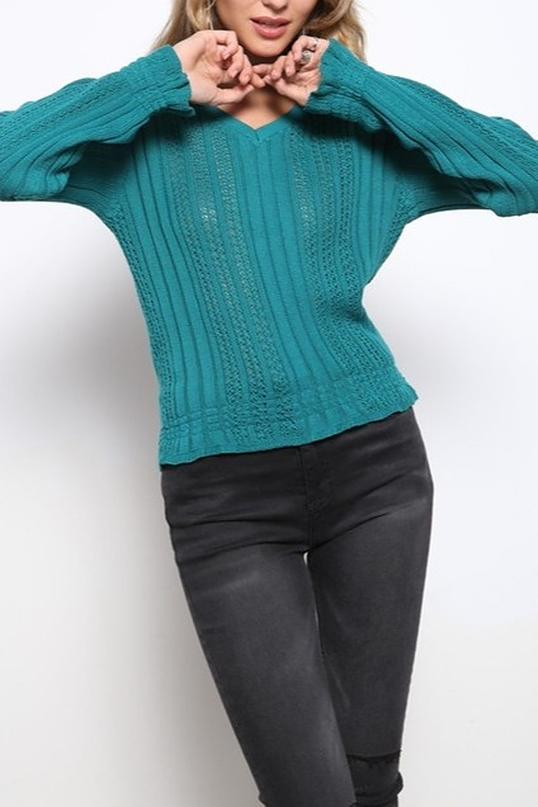 Mittoshop TEXTURED V-NECK CROP SWEATER - Front Cropped Image