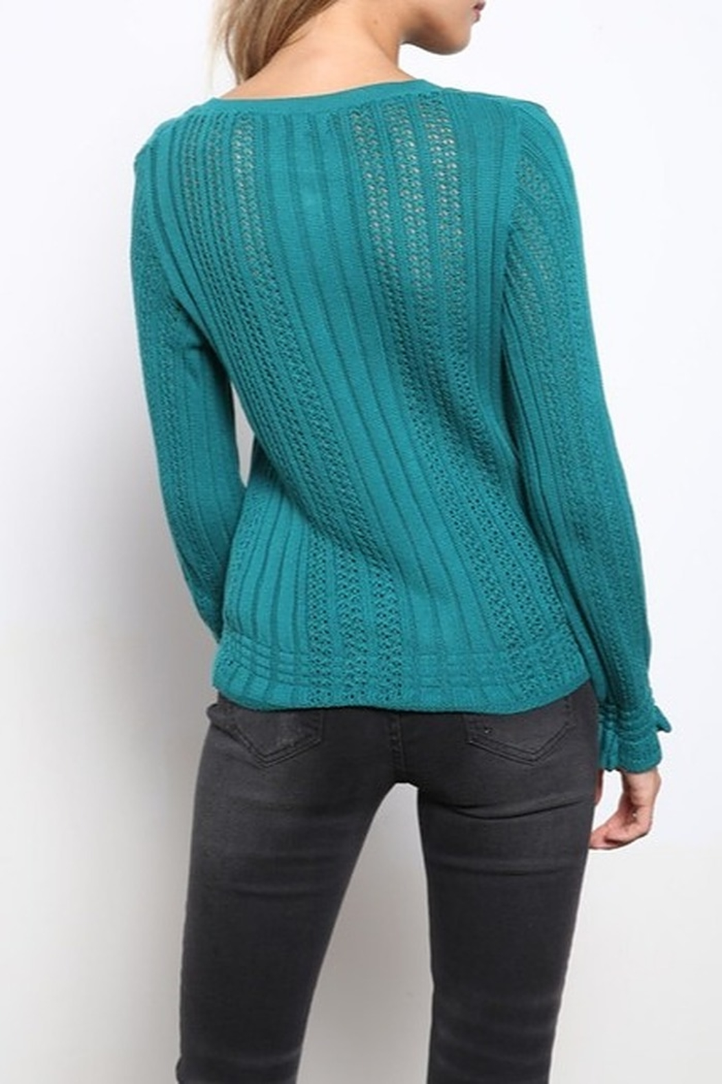 Mittoshop TEXTURED V-NECK CROP SWEATER - Side Cropped Image