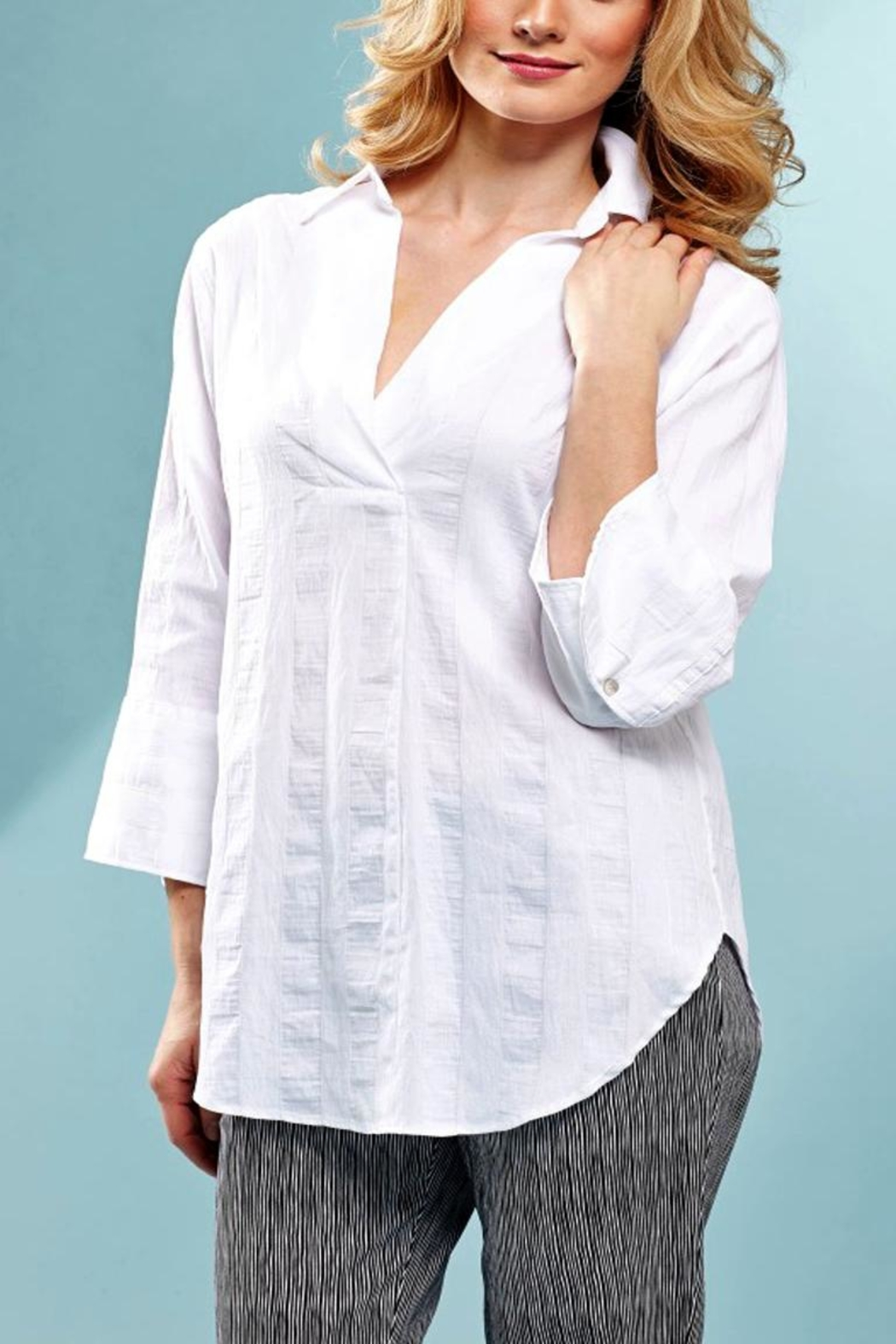 Insight Textured White Blouse - Main Image
