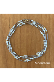 Bronwen Thai Triple Wrap Moonstone Necklace - Front cropped