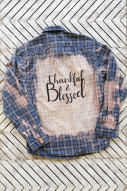 Soulstice Thankful & Blessed Dip Dye Plaid Shirt - Front cropped