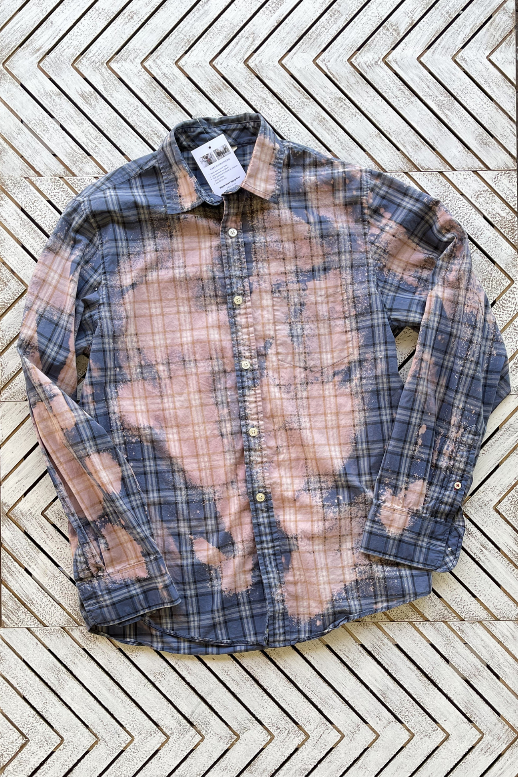 Soulstice Thankful & Blessed Dip Dye Plaid Shirt - Front Full Image