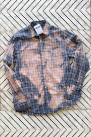 Soulstice Thankful & Blessed Dip Dye Plaid Shirt - Front full body