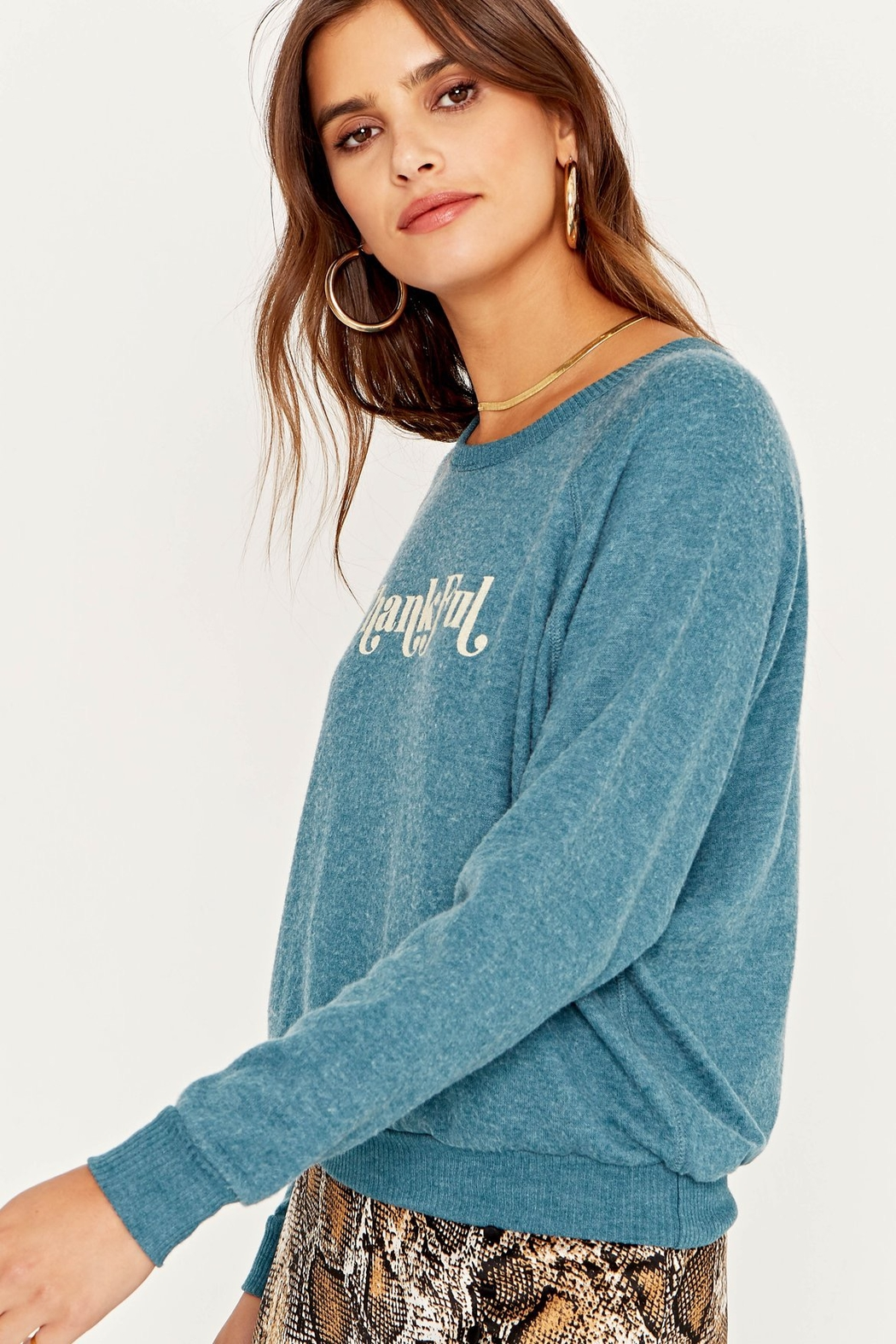 Project Social T Thankful Cozy Pullover Sweater - Front Full Image
