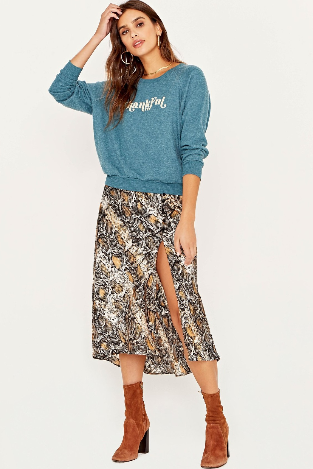 Project Social T Thankful Cozy Pullover Sweater - Front Cropped Image