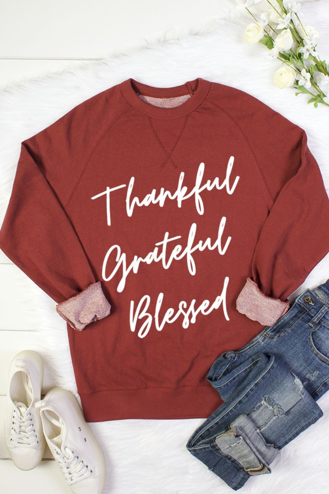 bella closet THANKFUL GREATFUL BLESSED - Front Cropped Image