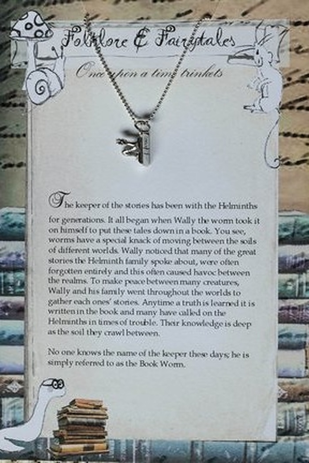 folklore & fairytales The book worm storybook necklace - Side Cropped Image