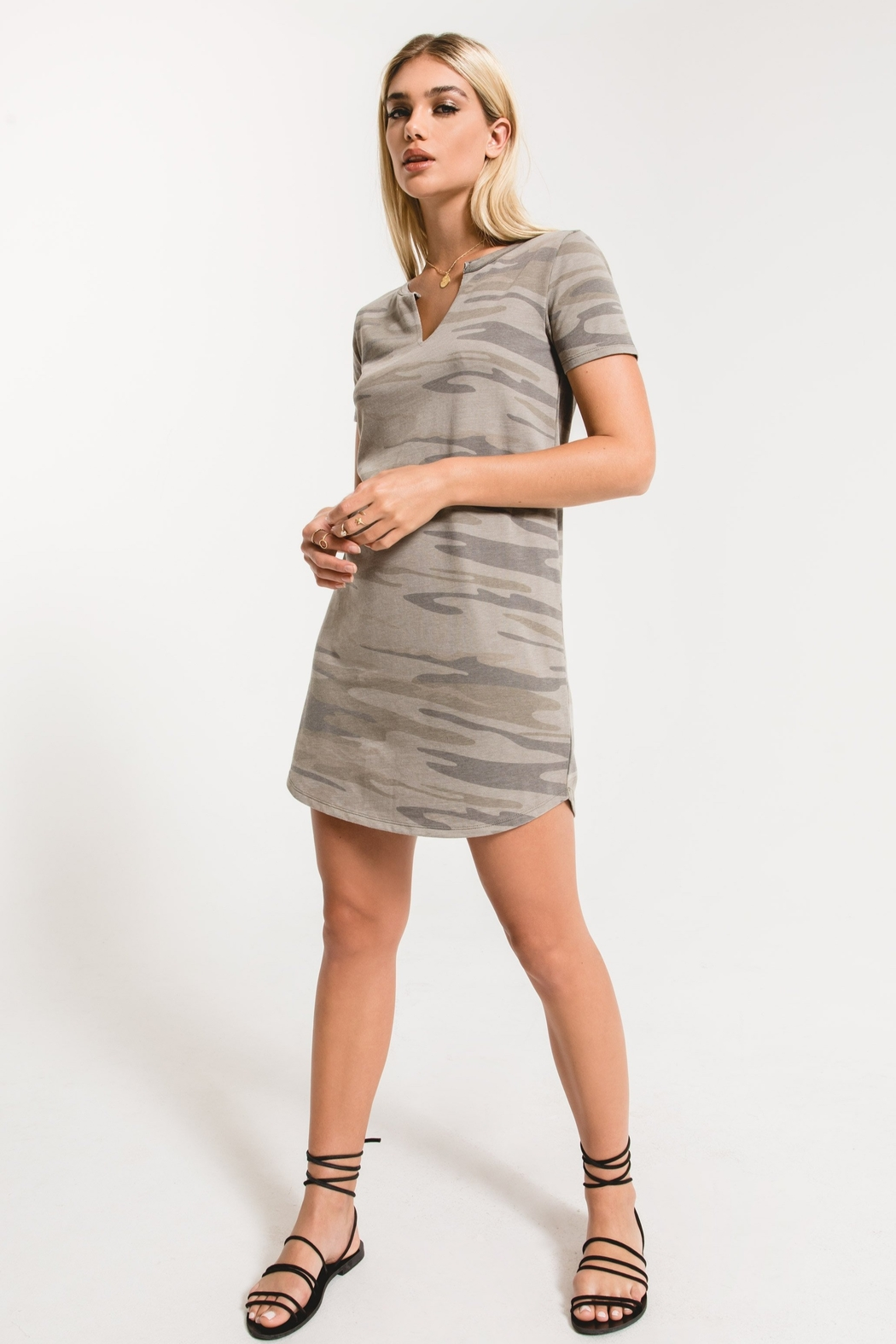 z supply The Camo Split Neck Dress - Front Cropped Image