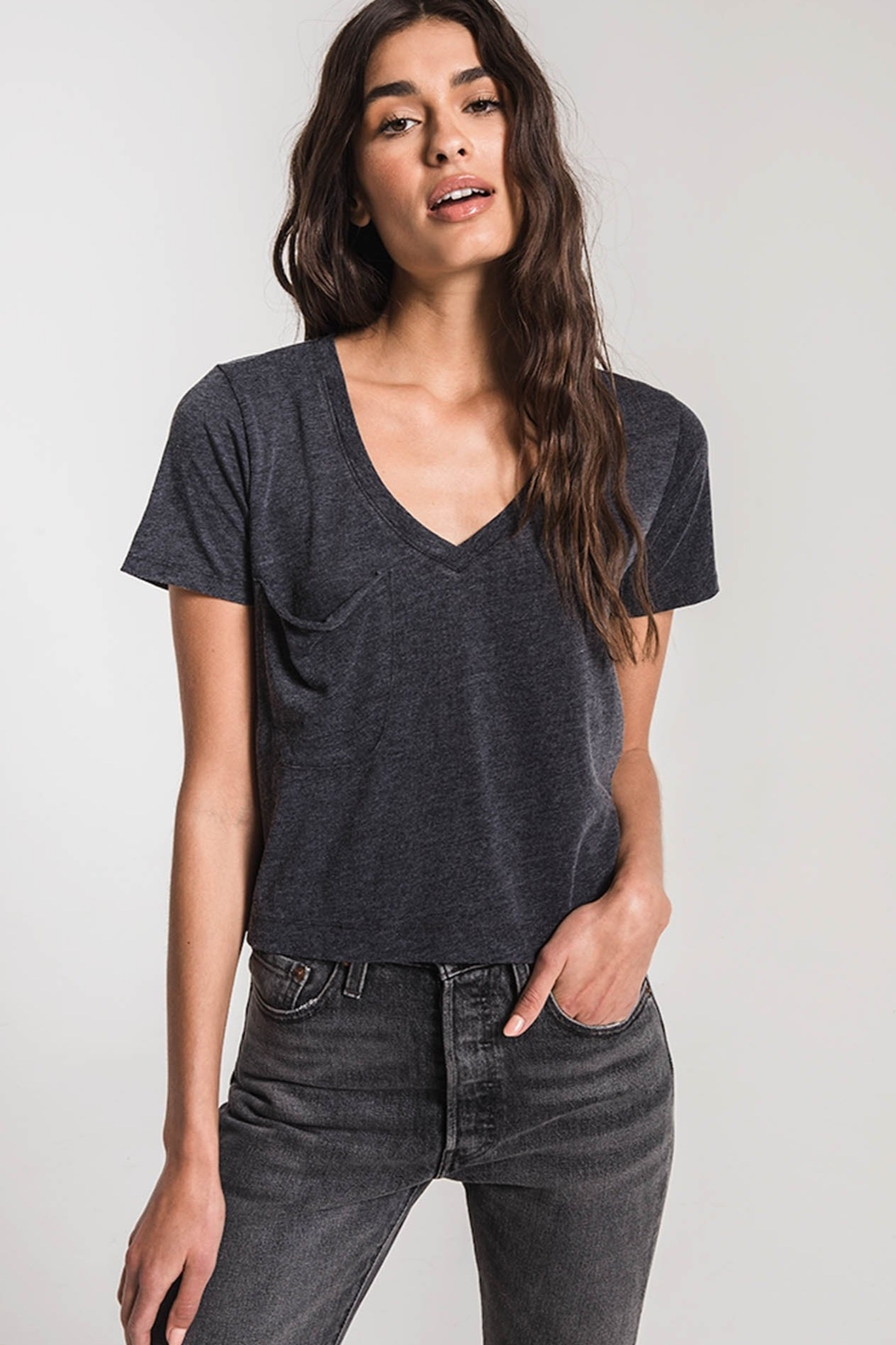 z supply The Classic Skimmer Crop Tee - Front Cropped Image
