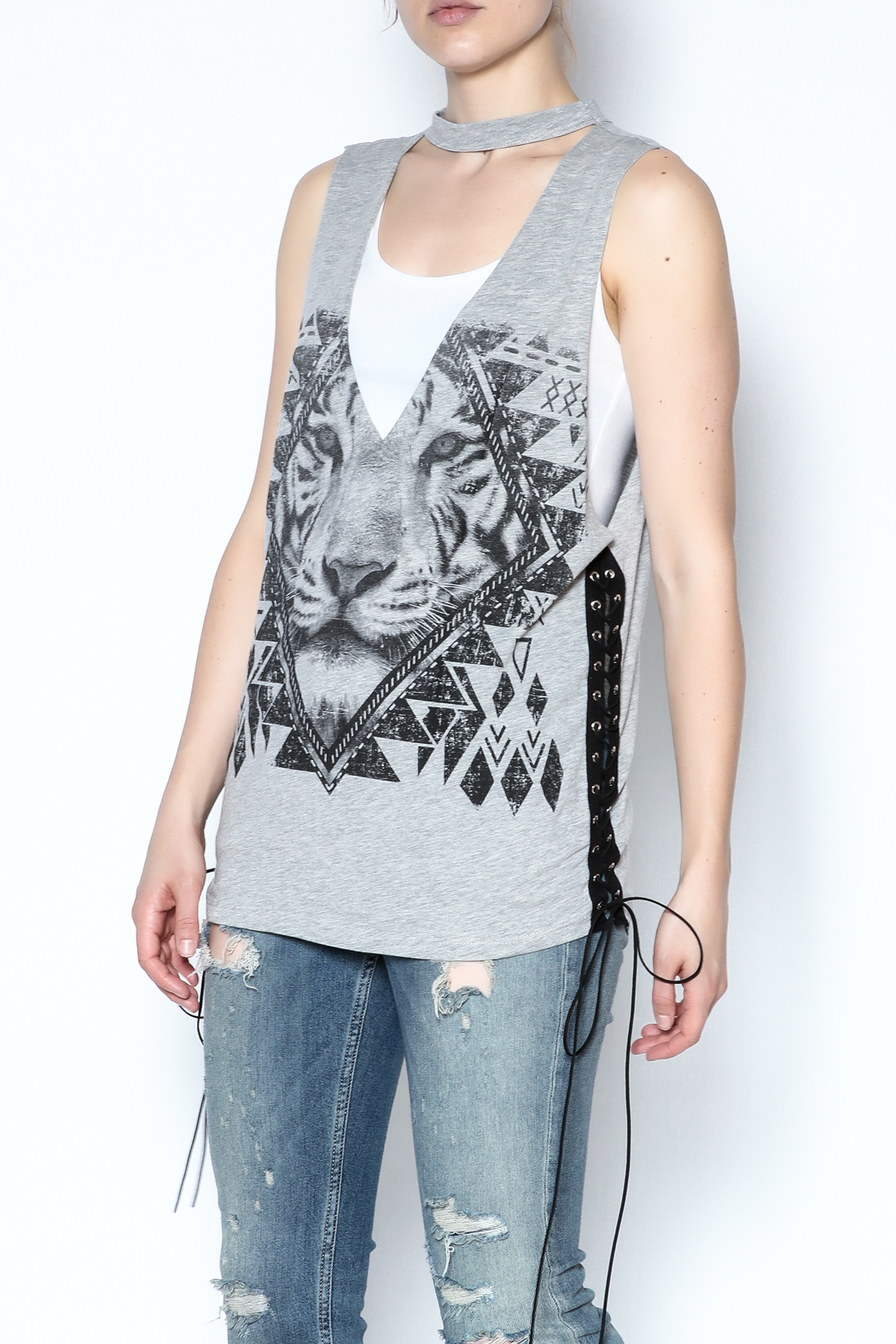The Classic Sleeveless Choker Tee - Front Cropped Image