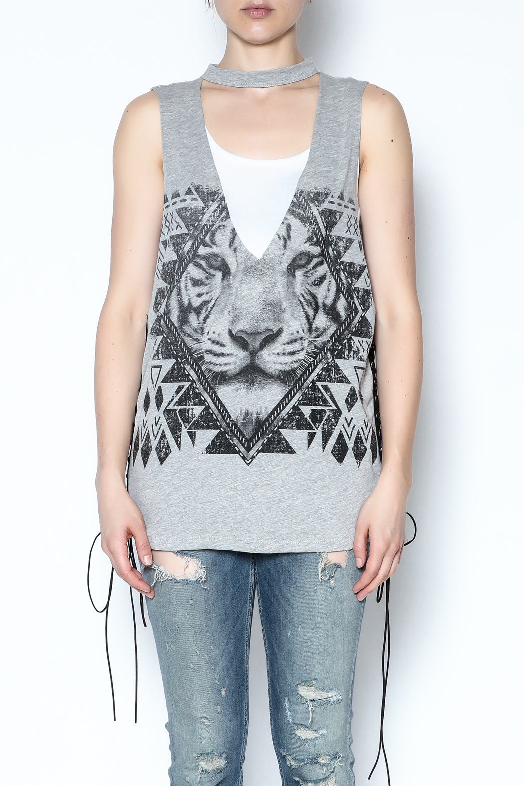 The Classic Sleeveless Choker Tee - Front Full Image