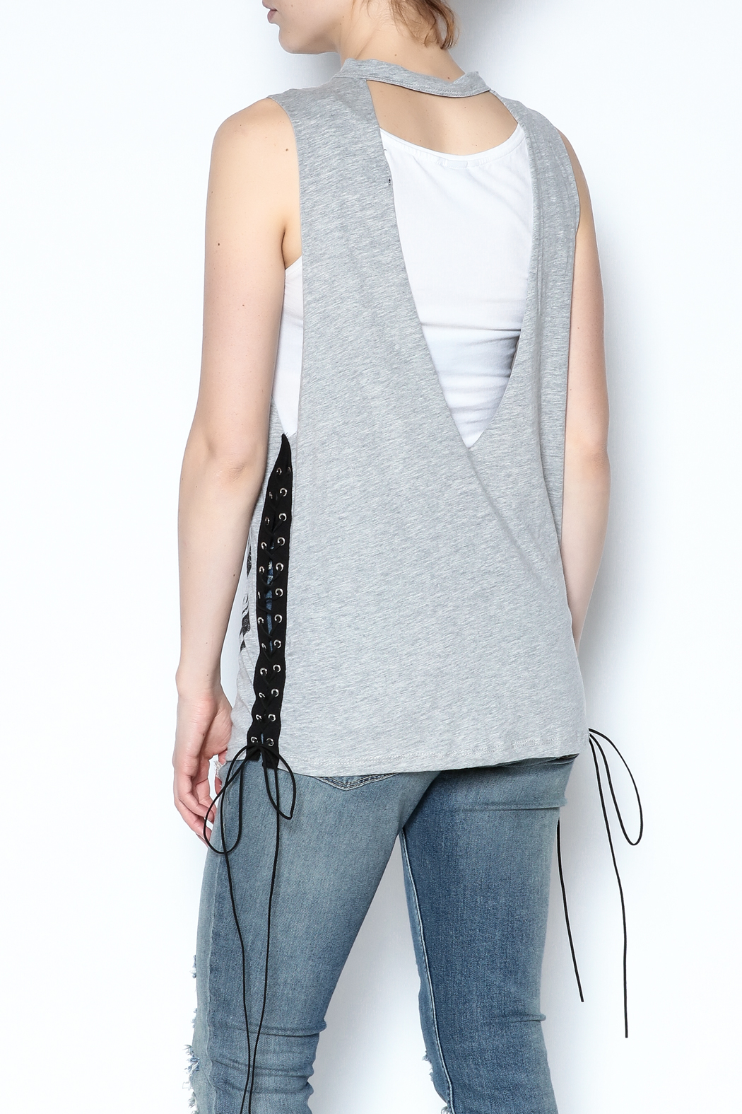 The Classic Sleeveless Choker Tee - Back Cropped Image