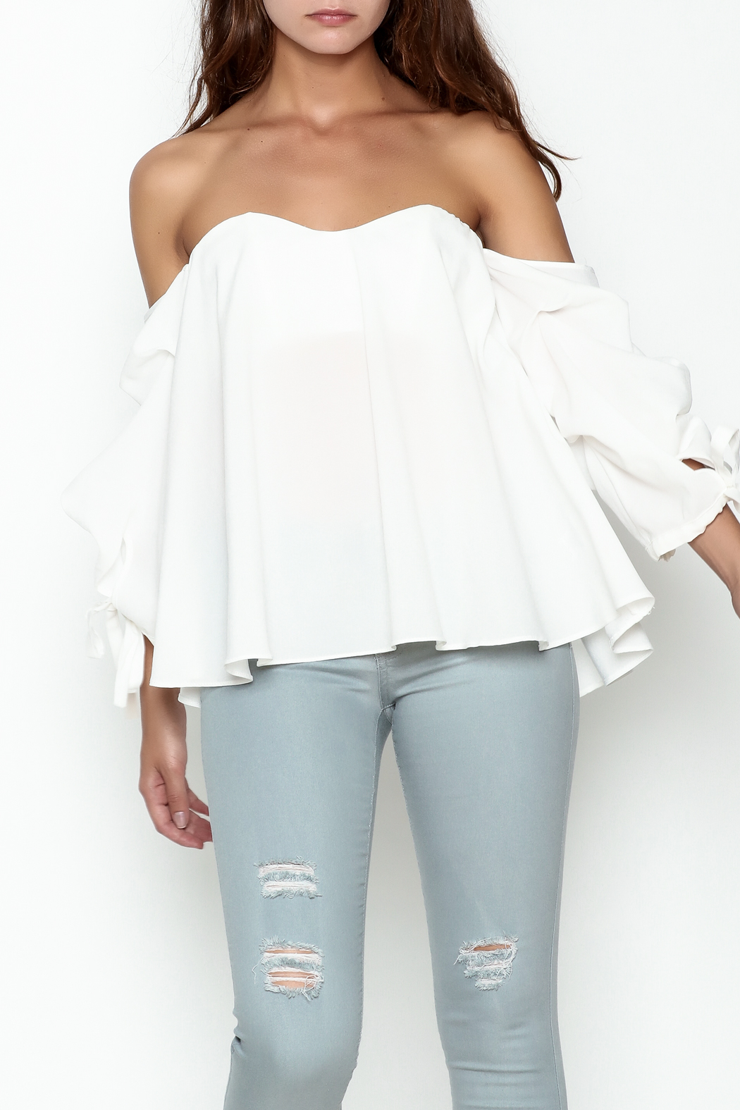 The Clothing Co Bubble Sleeve Blouse - Front Cropped Image