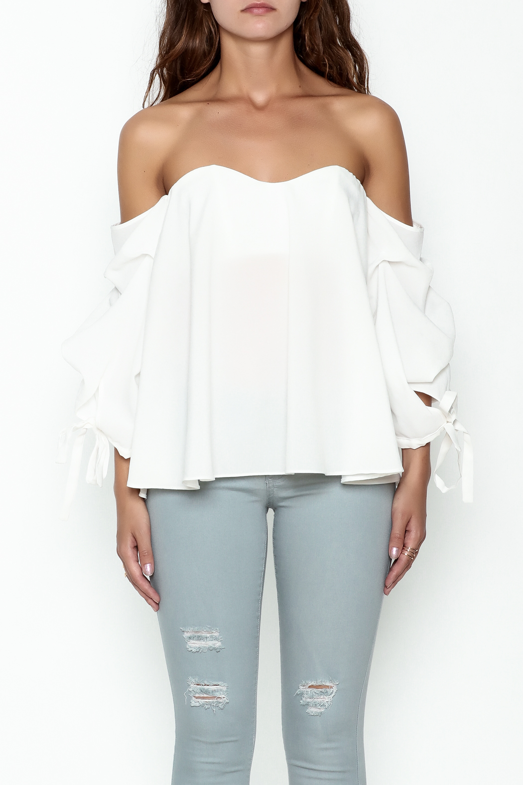 The Clothing Co Bubble Sleeve Blouse - Front Full Image