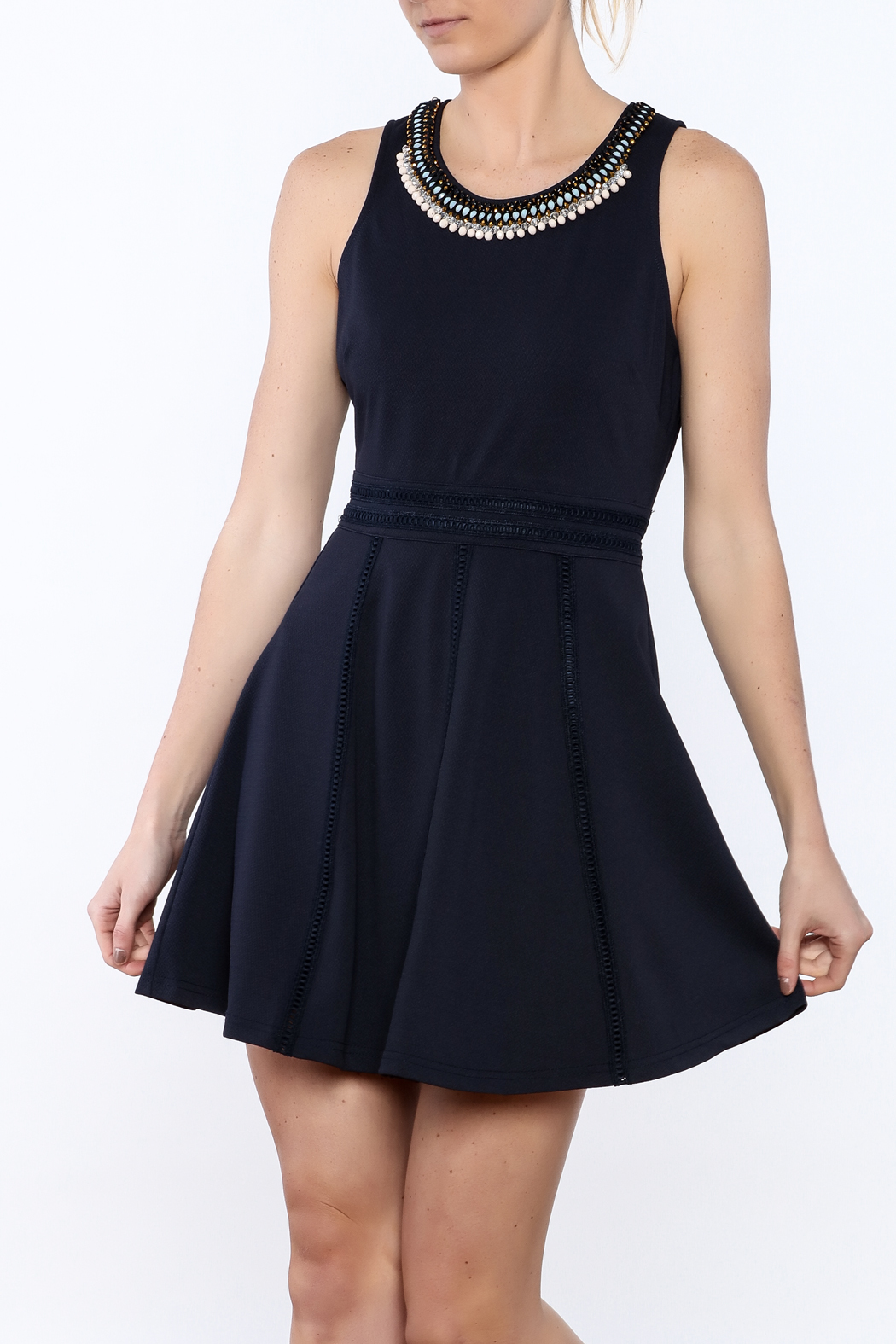 The Clothing Co Navy Caroline Dress - Front Cropped Image