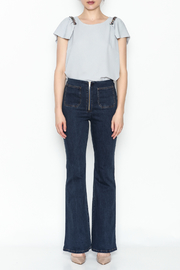 the clothing company Gray Flutter Top - Front full body