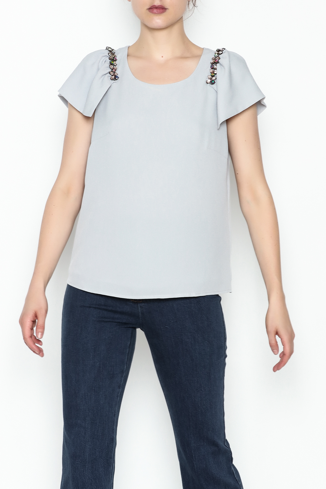 the clothing company Gray Flutter Top - Main Image