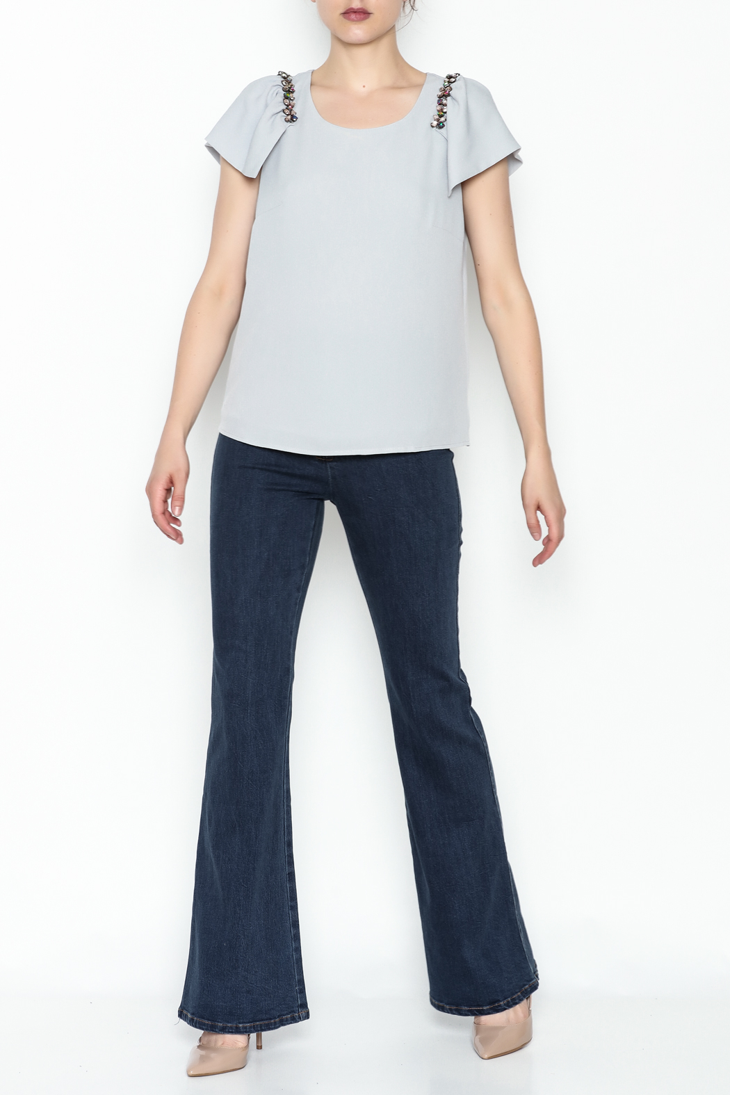 the clothing company Gray Flutter Top - Side Cropped Image