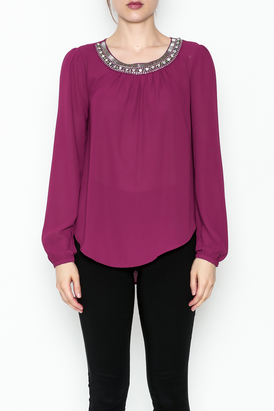 the clothing company Purple Embellished Blouse - Front Cropped Image