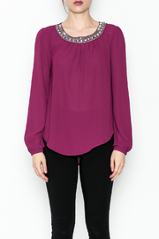 the clothing company Purple Embellished Blouse - Front full body