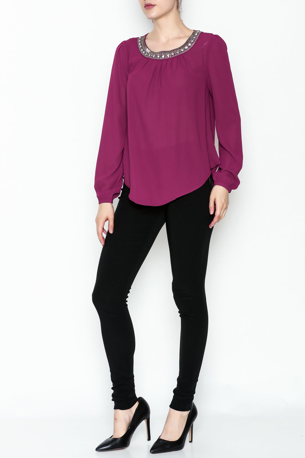 the clothing company Purple Embellished Blouse - Side Cropped Image