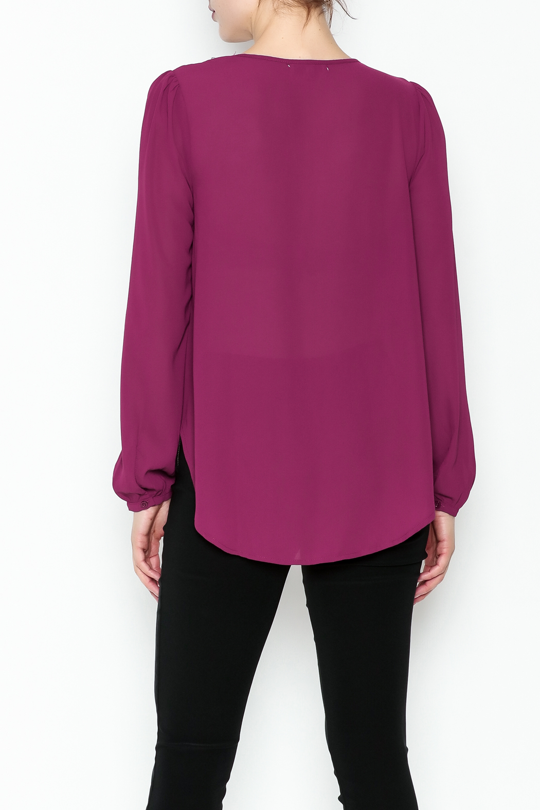 the clothing company Purple Embellished Blouse - Back Cropped Image