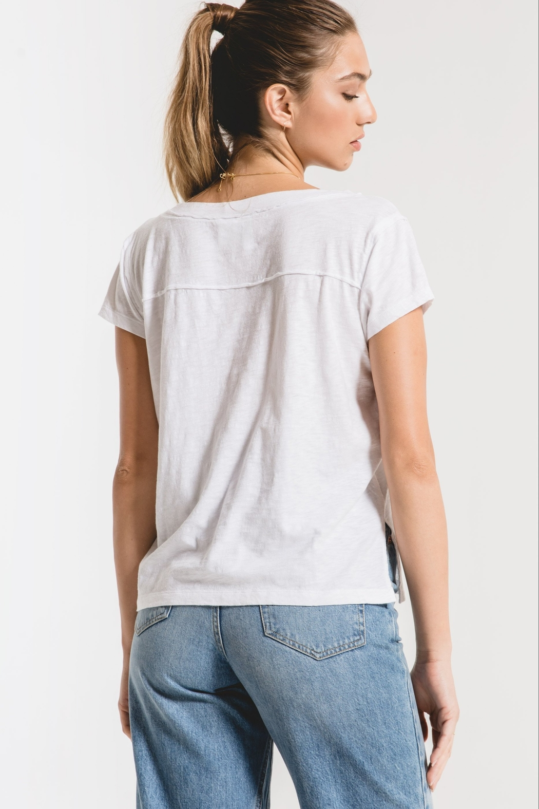 z supply The Cotton Slub Easy VNeck Tee - Front Full Image