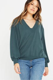 Project Social T The Distance Between Cozy V Neck - Front full body