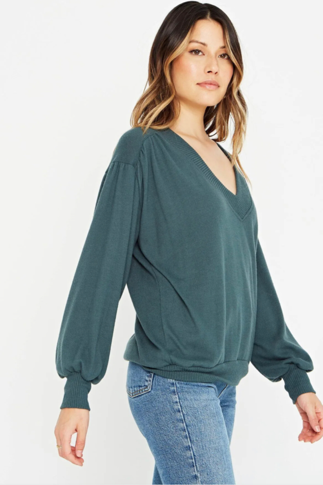 Project Social T The Distance Between Cozy V Neck - Front Cropped Image
