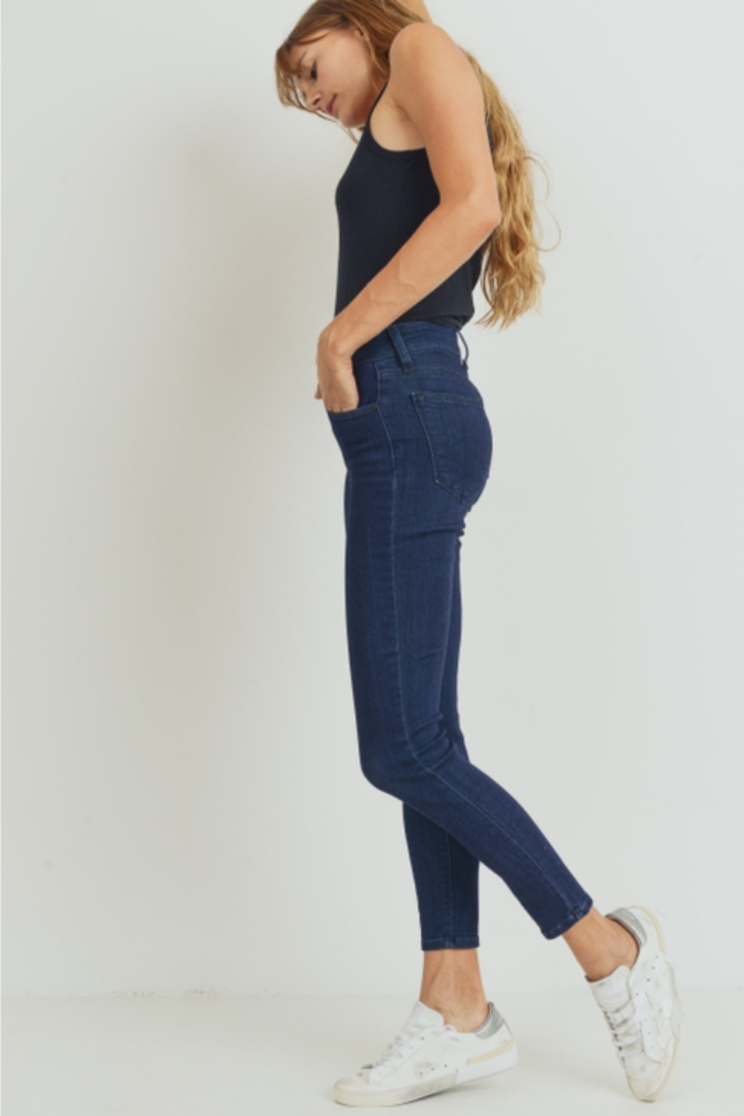 Just Black Denim The Essential High Rise Skinny Jeans - Back Cropped Image