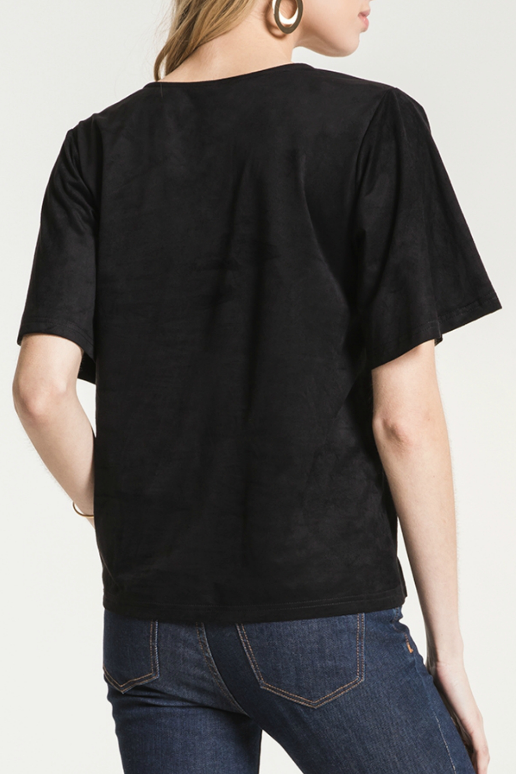 z supply The Faux Suede Flutter Tee - Front Full Image