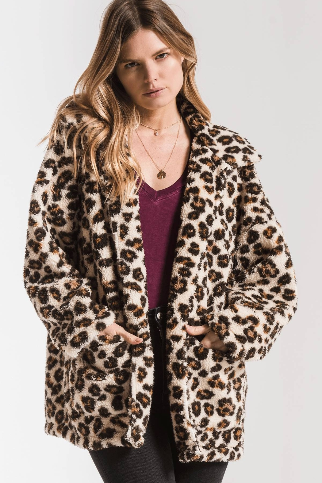 z supply The Leopard Sherpa Coat - Front Full Image