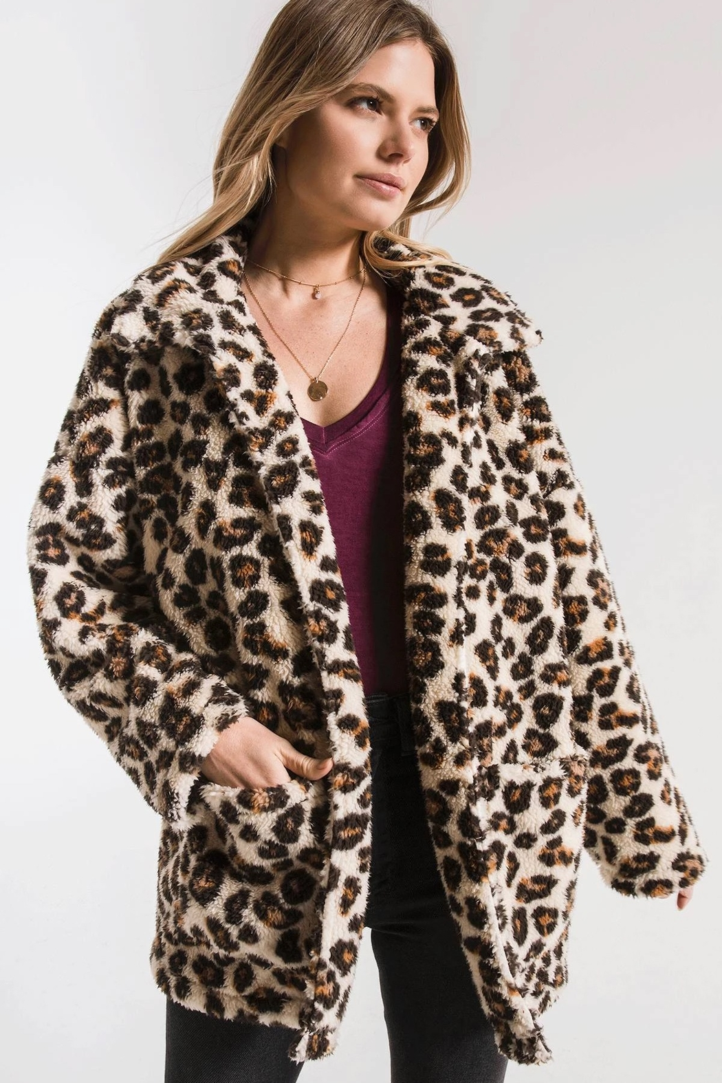 z supply The Leopard Sherpa Coat - Side Cropped Image
