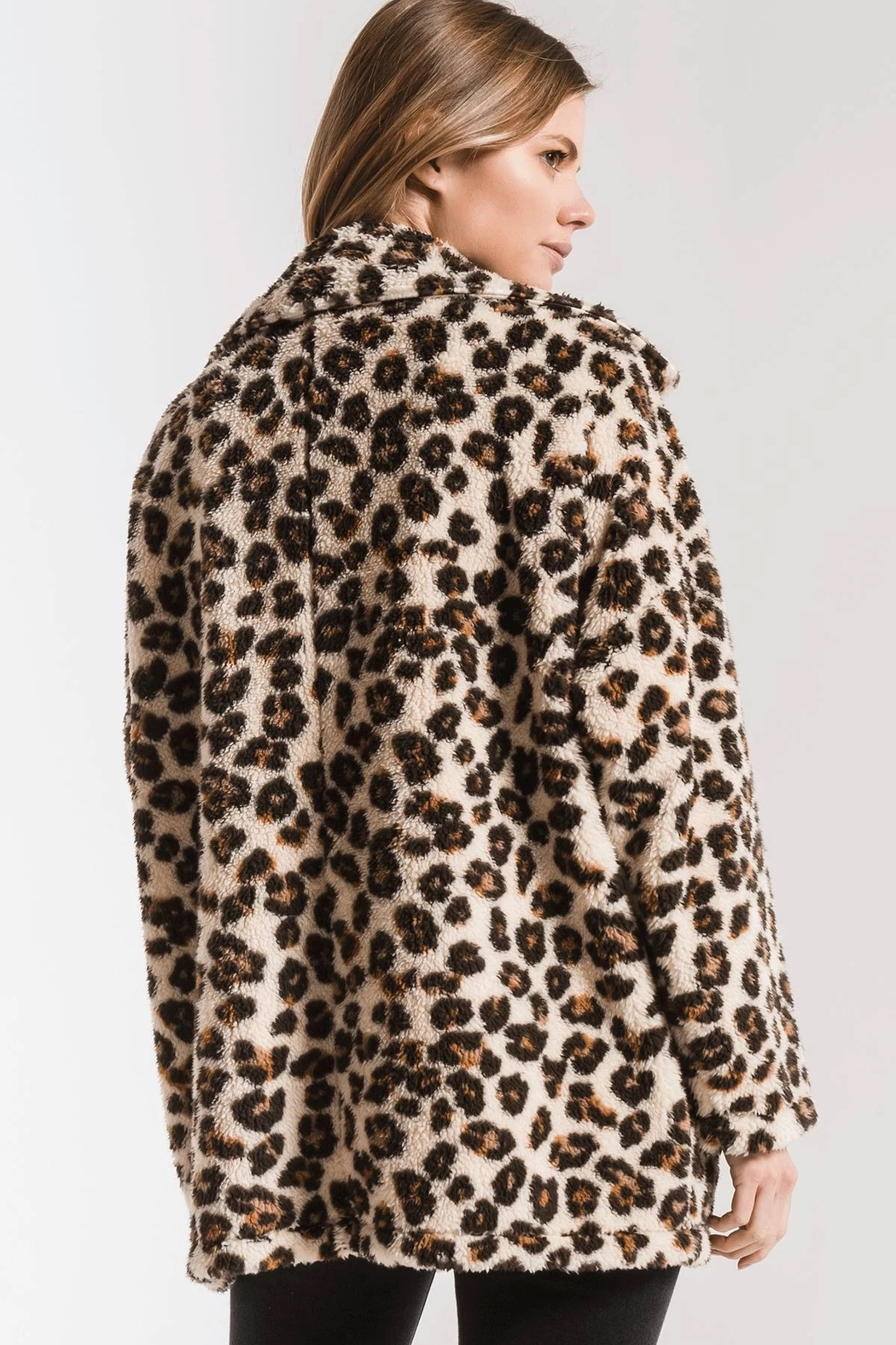 z supply The Leopard Sherpa Coat - Back Cropped Image