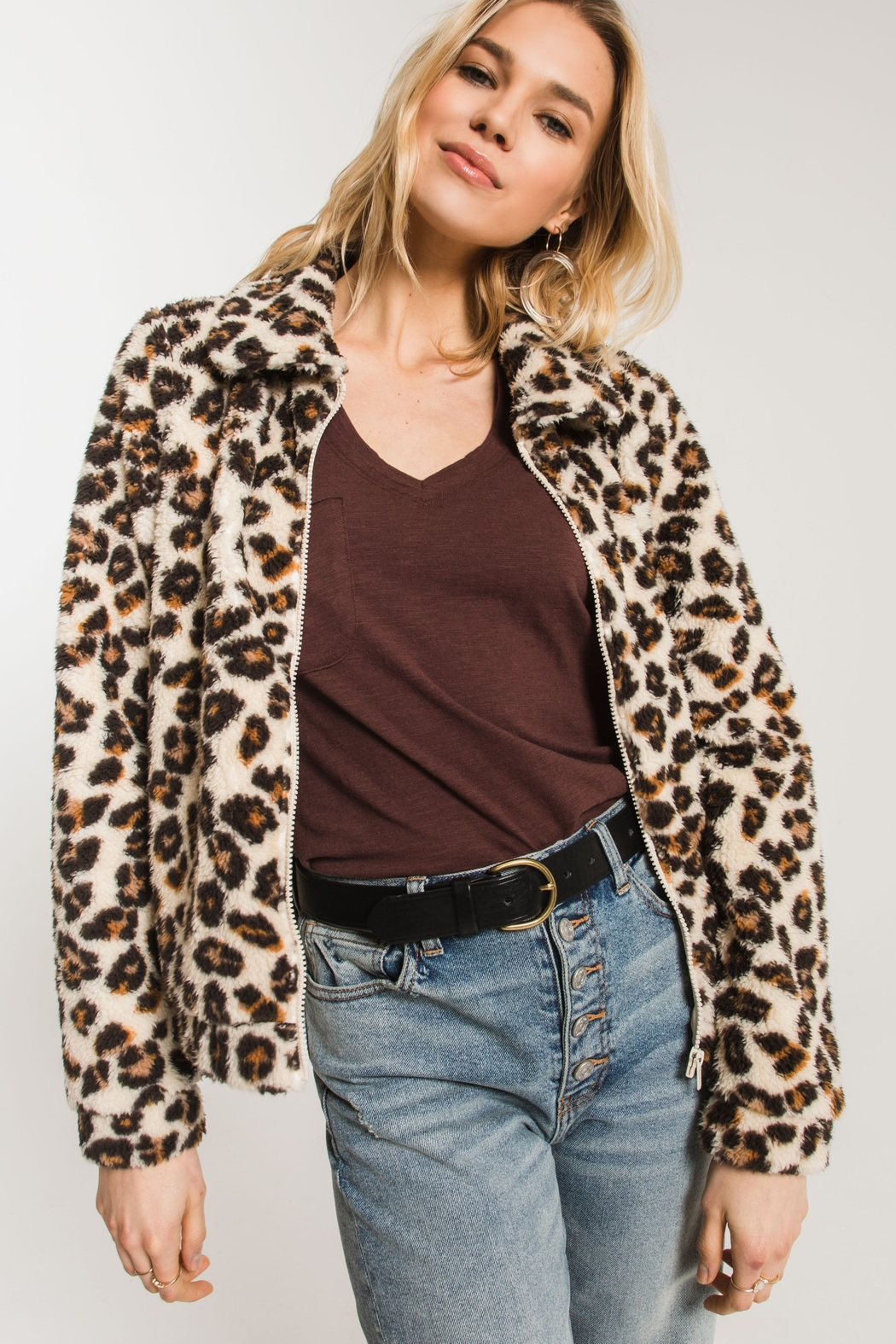 Zsupply The Leopard Sherpa Crop Jacket - Front Full Image