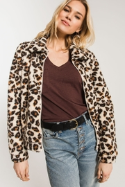 Zsupply The Leopard Sherpa Crop Jacket - Front full body