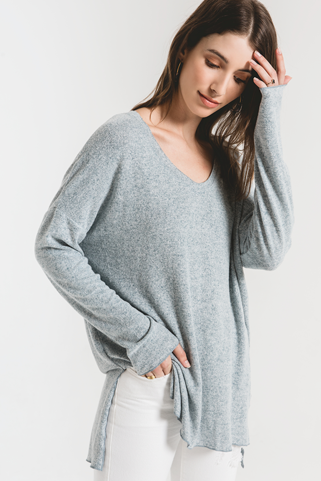 z supply THe Marled Sweater - Back Cropped Image