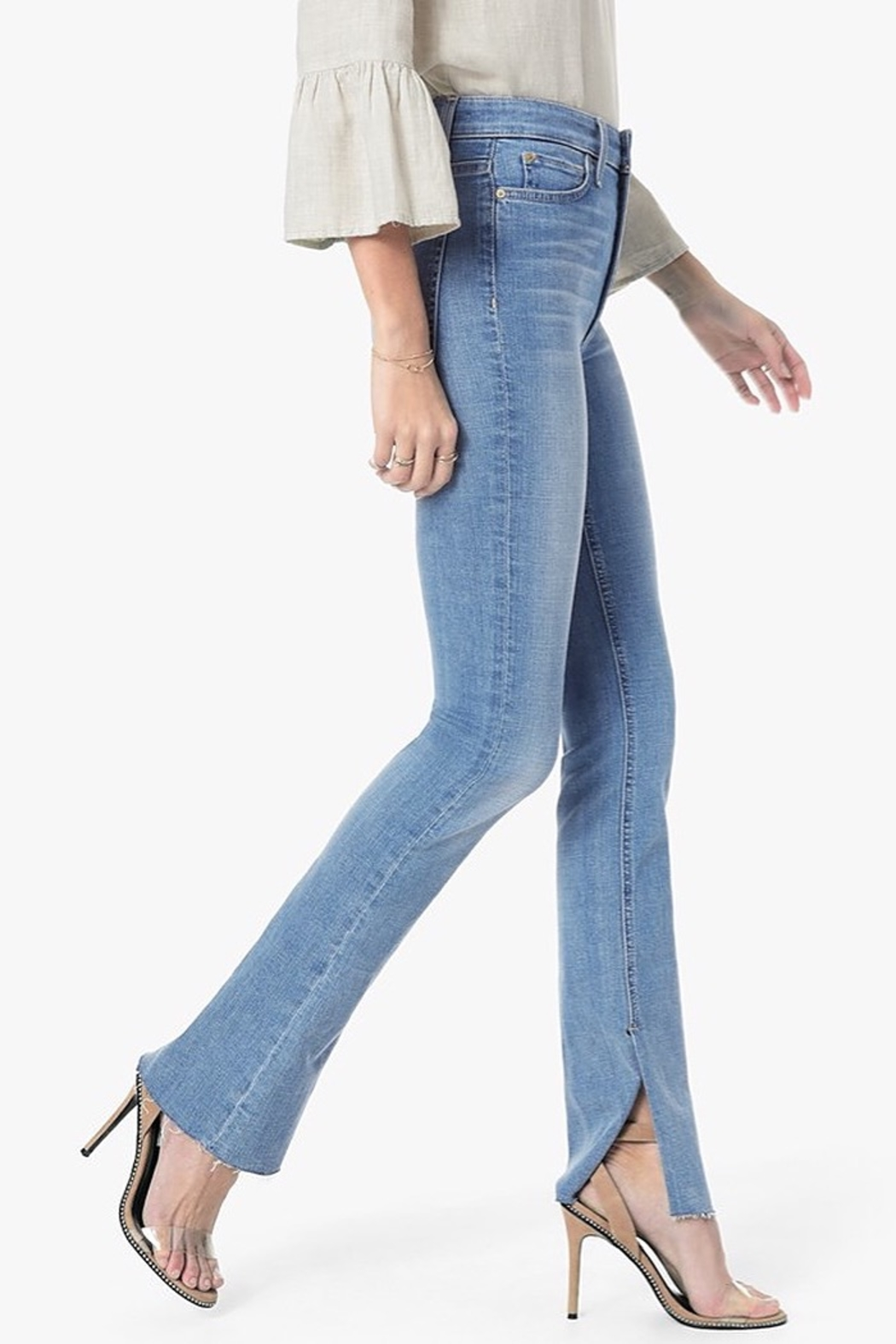 Joe's Jeans The Microflare Slit Raw Hem in Lorlai - Side Cropped Image