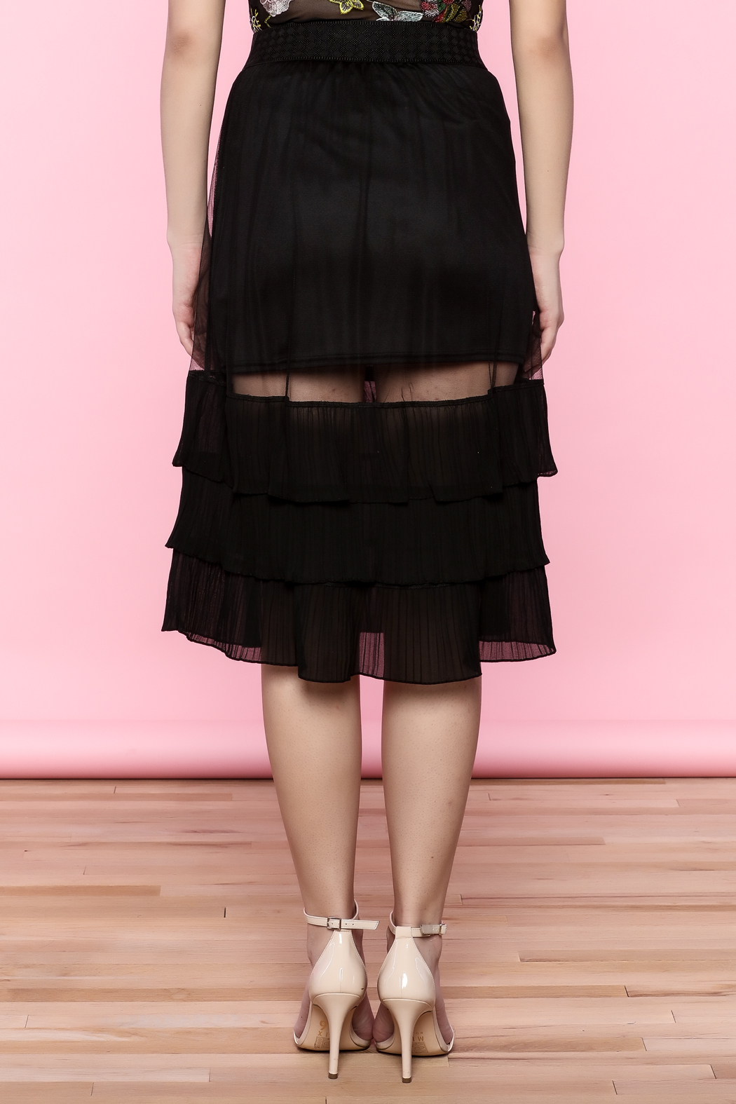 the moon Ruffle Mesh Skirt - Back Cropped Image