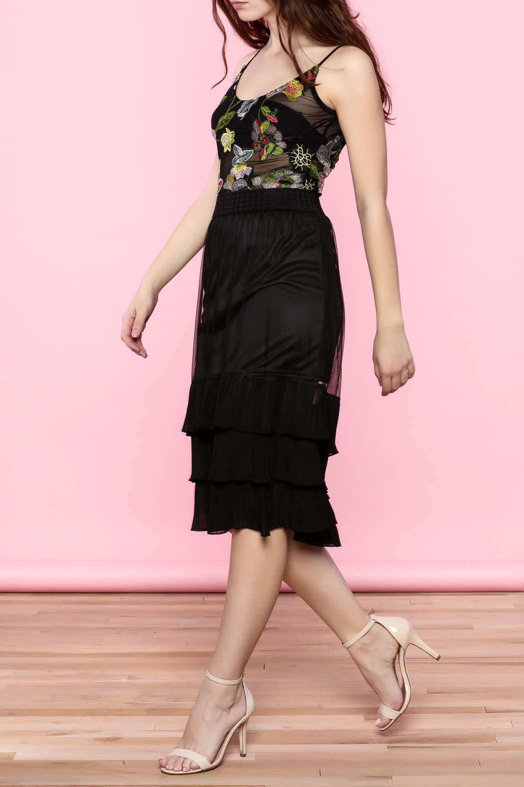 the moon Ruffle Mesh Skirt - Side Cropped Image