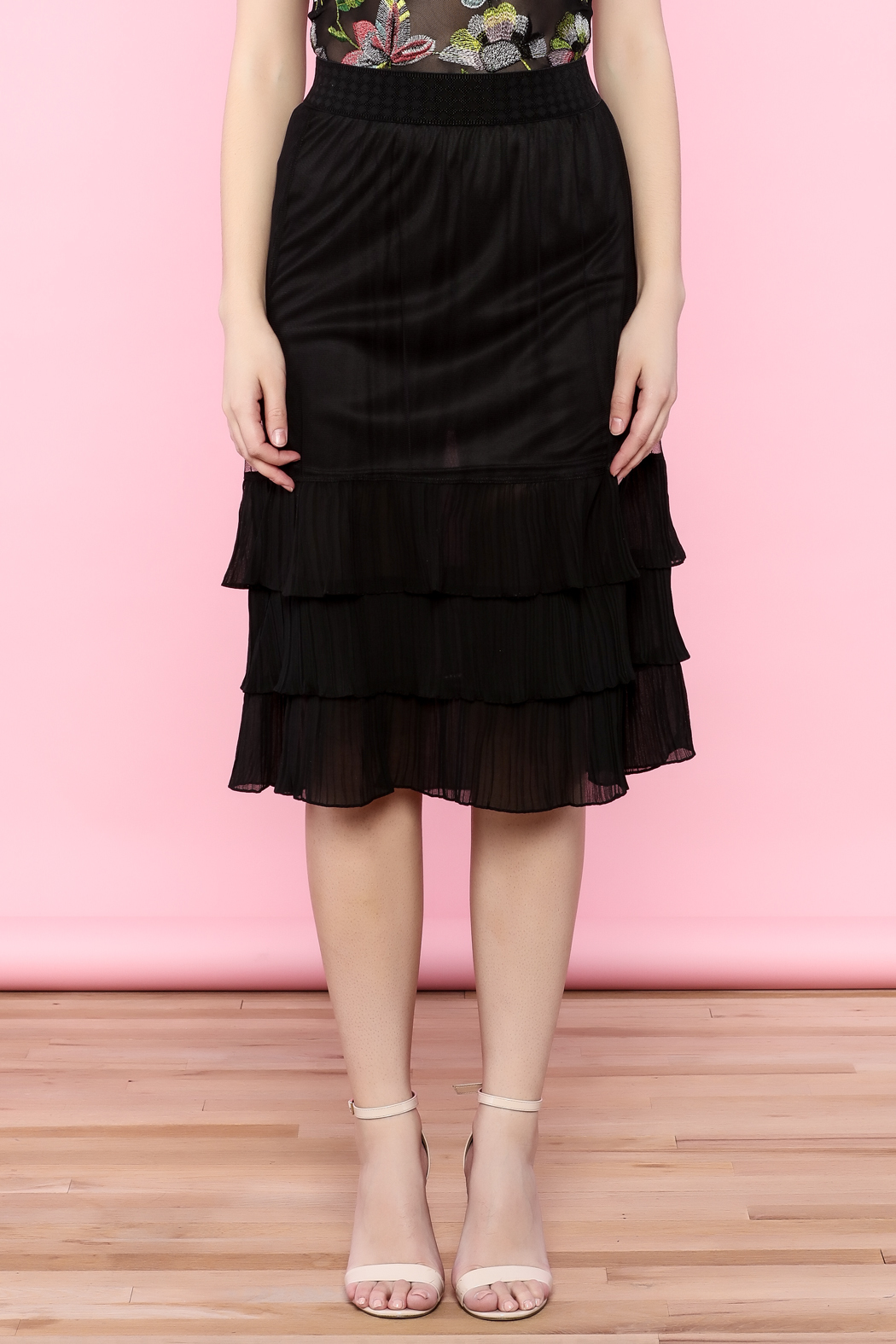 the moon Ruffle Mesh Skirt - Front Full Image