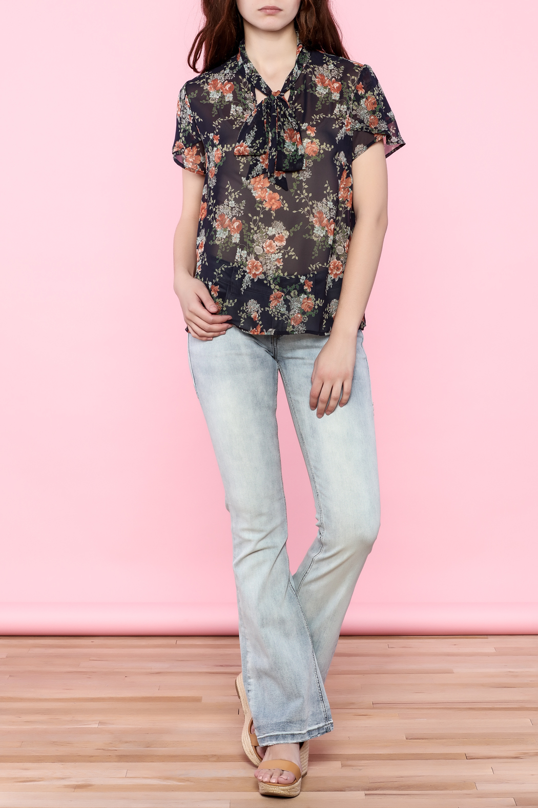 the moon Printed Tie Neck Top - Side Cropped Image