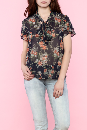 the moon Printed Tie Neck Top - Main Image