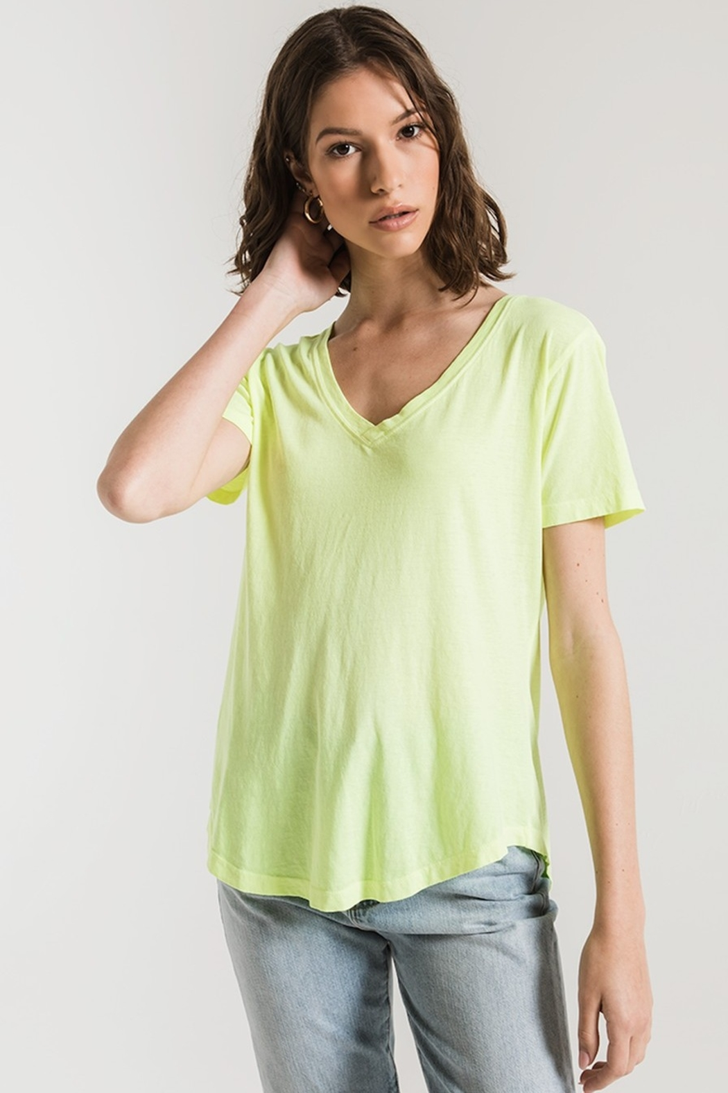 z supply The Neon V-Neck Tee - Front Full Image