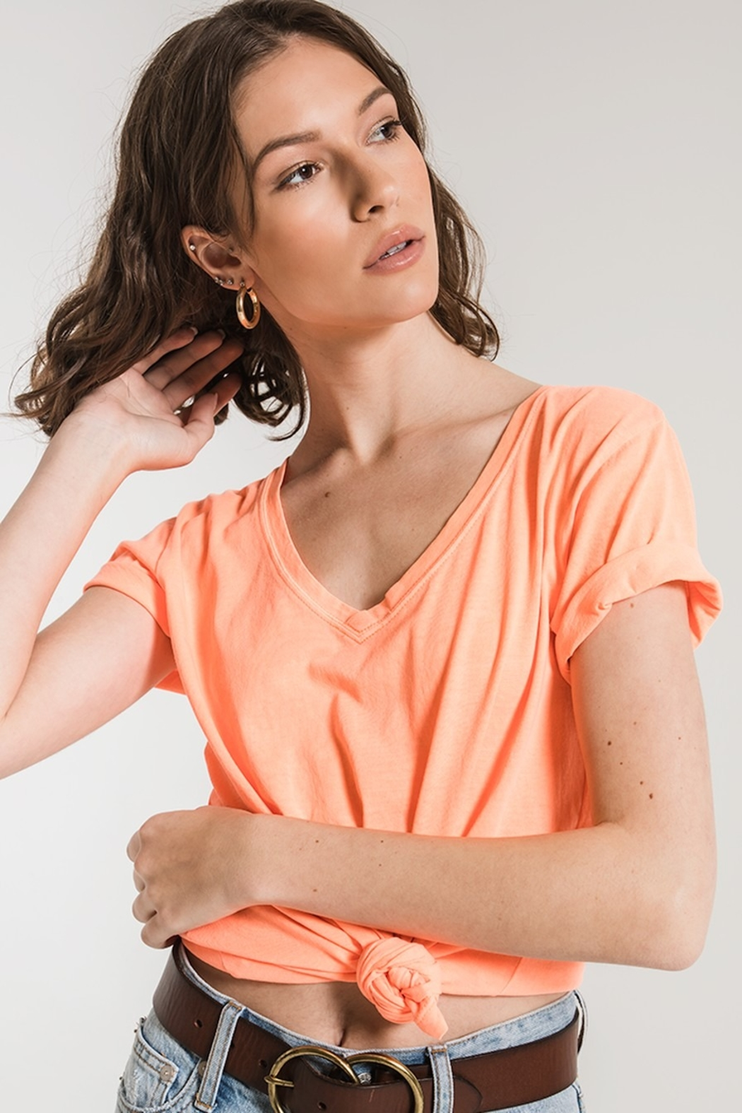 z supply The Neon V-Neck Tee - Front Cropped Image